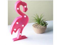 Pink Flamingo Met 7 Led Lampjes 30X14Cm
