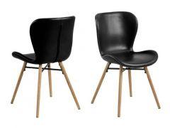Batilda Dining Chair Leather Look Retro Black