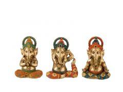 Ganesha Poly Gd/Or/Turq Assortiment Prijs Per Stuk, Geen Set, 15X11X22Cm