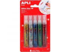 Apli Glitterlijm Metallic Geassorteerde Kleuren 5 Stuks