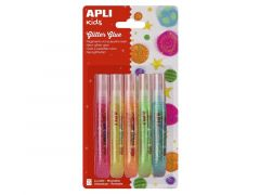 Apli Glitterlijm Fluo Geassorteerde Kleuren 5 Stuks
