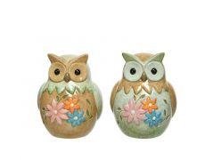 Uil Terracotta Bloemen 8.5X9.5X11Cm Groen/Kleur 2 Assortiment Prijs Per Stuk