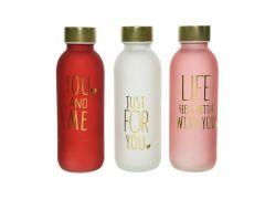 Drinkfles Glas Love Dia6.4X19Cm 3 Assortiment Prijs Per Stuk
