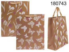 Kraft Paper Bag Spring Decor 26X10X32Cm 2 Assortimenten Prijs Per Stuk
