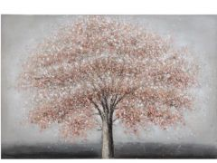 Schilderij Boom Canvas Hout Wit/L  Rood/Grijs 150X4X99,5Cm