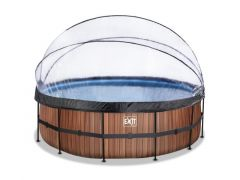 Exit Zwembad Rond Frame Pool D450X122Cm 12V Zandfilter – Timber Style + Overkapping