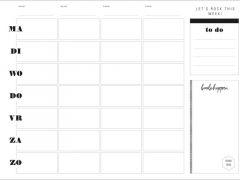 Weekplanner Whiteboard Met Zwart