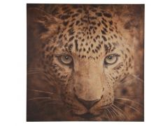 Wall Art Leopard Wood 78X78X3Cm