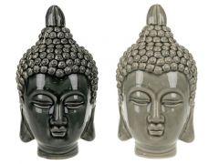 Budha Head Ceramic 15X13X24Cm Lgrey/Dgrey Assortiment van 2 Prijs Per Stuk