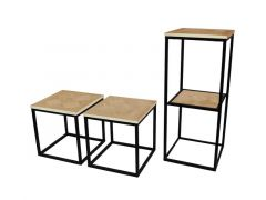 Hamilton Small Table Parquetry/Metal Frame