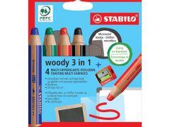 Stabilo Woody Wallet 4 Stuks Met Slijper En Cleaning Wipe