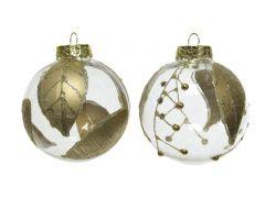 Kerstbal Plastic Blad Transparant/Goud Dia8Cm 2 Assortiment Prijs Per Stuk/Motief