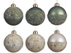 Kerstbal Glas Ballotine Dia8Cm 5 Assortiment Prijs Per Stuk/Motief