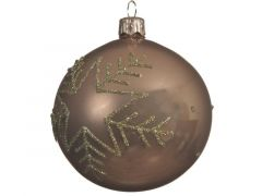 Kerstbal Glas Bew.Ster Glans Camel Bruin Dia8Cm