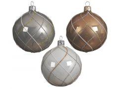 Kerstbal Glas Bew.Ruit Dia8Cm 3 Assortiment Prijs Per Stuk/Motief