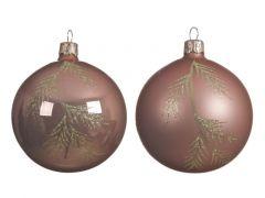 Kerstbal Glas Bew.Tak Zacht Terra Dia8Cm 2 Assortiment Prijs Per Stuk/Motief