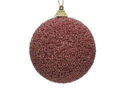 Kerstbal Foam Glitter Kraal veloursroze Dia8Cm
