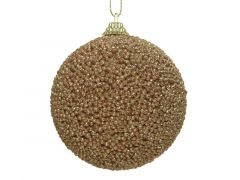 Kerstbal Foam Glitter Kraal Camel Bruin Dia8Cm