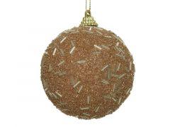 Kerstbal Foam Tubes Glitter Camel Bruin Dia8Cm