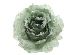 Roos Polyester Clip Glitter Salie Groen Dia14X8.5Cm