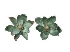 Magnolia Polyester Clip Salie Groen Dia20X5Cm 2 Assortiment Prijs Per Stuk/Motief