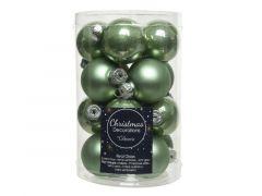 Kerstbal Glas Emaille-Mat Dia3.5Cm Salie Groen