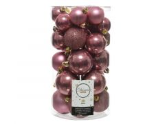 Kerstbal Plastic Gl-Mt-Glitter Assorted veloursroze