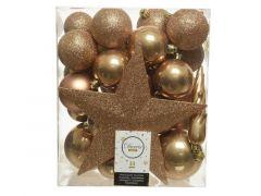 Kerstbal Plastic Mixbox Piek Assorted Camel Bruin