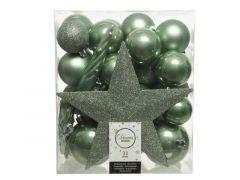 Kerstbal Plastic Mixbox Piek Assorted Salie Groen