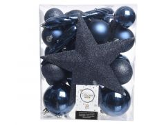 Kerstbal Plastic Mixbox Piek Assorted Nacht Blauw