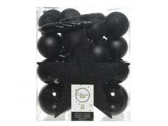 Kerstbal Plastic Mixbox Piek Assorted Zwart