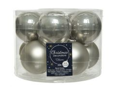 Kerstbal Glas Emaille-Mat Dia6Cm Mistig Grijs