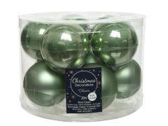 Kerstbal Glas Emaille-Mat Dia6Cm Salie Groen