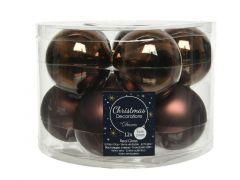 Kerstbal Glas Glans-Mat Dia6Cm Donker Bruin