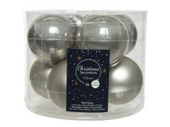 Kerstbal Glas Emaille-Mat Dia7Cm Mistig Grijs