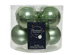 Kerstbal Glas Emaille-Mat Dia7Cm Salie Groen