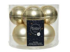 Kerstbal Glas Glans-Mat Dia7Cm Champagne