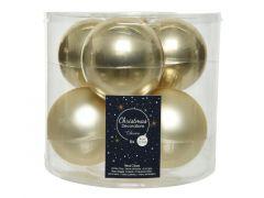 Kerstbal Glas Glans-Mat Dia8Cm Champagne