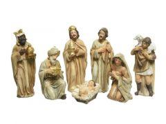 Kerstgroep Poly 7 Figuren 12Cm Goud