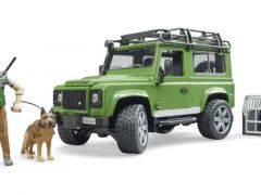 Bruder 02587 Land Rover Defender With Forester And Dog