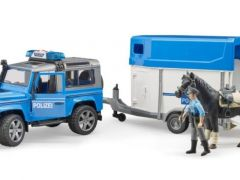 Bruder 02588 Land Rover Police With Trailer And Horse