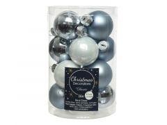Kerstbal Glas Wit-Blauw Mix Dia3.5Cm