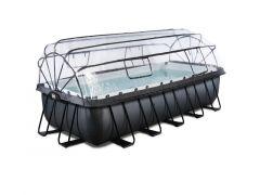 Exit Zwembad Rechthoekig Frame Pool 5.4X2.5X1.22M 12V Filter - Black-Leather + Overk. + Warmtepomp
