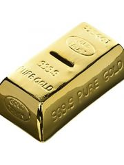 Spaarpot Met Slot Gold Bar Ceramic 16.5X8.5X5Cm