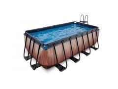 EXIT Zwembad Rechthoekig Frame Pool 4X2X1.22M 12V – Wood Style