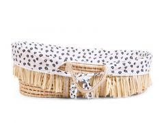 Childhome Moses Mand Soft Cornhusk Raffia + Matras + Jersey Hoes Leopard