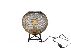 "Tafellamp Rond ""Draad"" S Goud/Zwart Metaal 26X26X33Cm"
