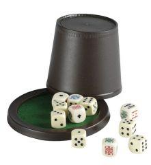 Pokerbeker met deksel en dobbelstenen