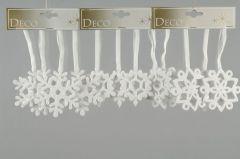 Sneeuwvlok hanger met lint Dia8 cm Wit