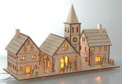 K Kerstdorp Hout Met Verlichting